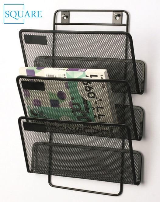 3 Pockets Hanging Mesh Magazine Rack
