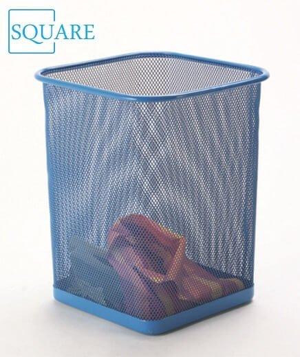 Square Steel Mesh Trash Waste Basket Blue