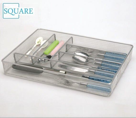 6 Compartment Steel Mesh Kitchen Drawer Organizer Tray