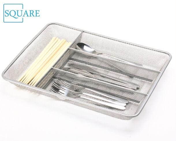 Steel Mesh Cutlery Tray Flatware Storage Utensil Holder Organizer