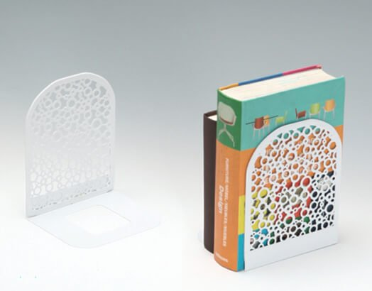White Artistic Punched Metal Bookends