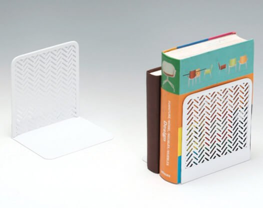 White Punched Metal Bookends