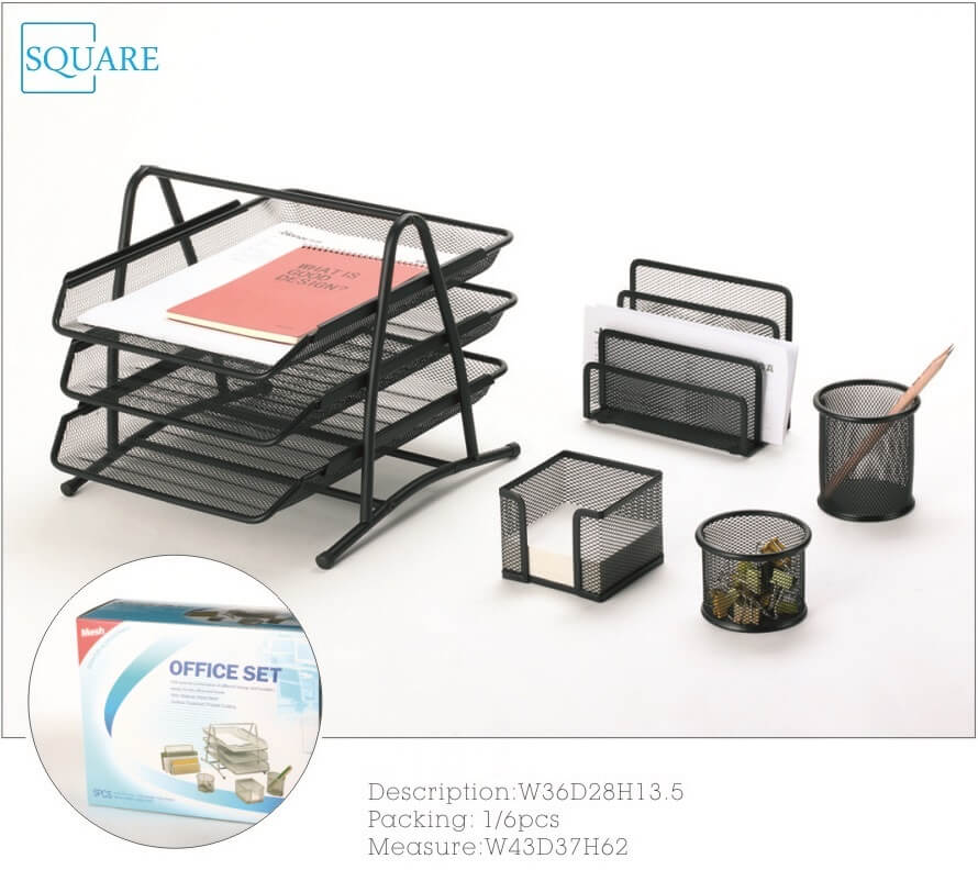 5Pc Metal Wire Mesh Office Stationery Set