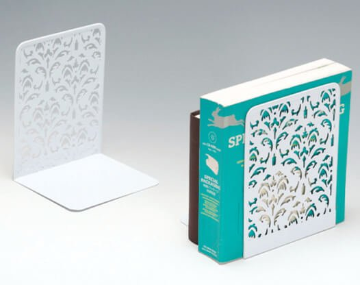 Flower Punched Metal White Bookends