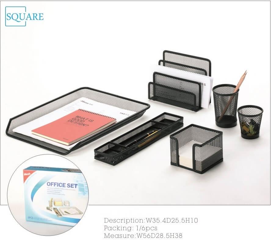 6pc Mesh Desk Organization Set