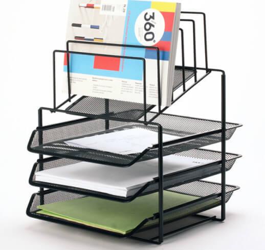 Mesh Desk Office Supplies Mail Organizer 5 Tiered 3 Tray Wire File Holder