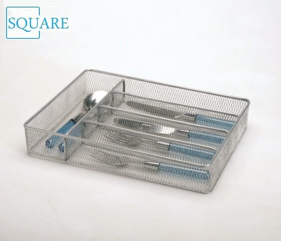 5 Compartment Mesh Utensil Flatware Tray Kitchen