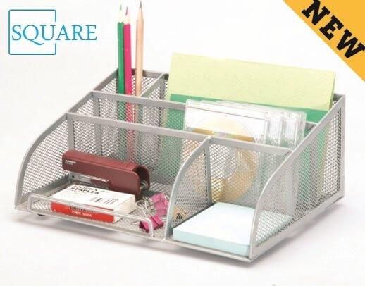 Mesh 5 Compartment Office Supply Caddy Holder Desk Organizer Storage