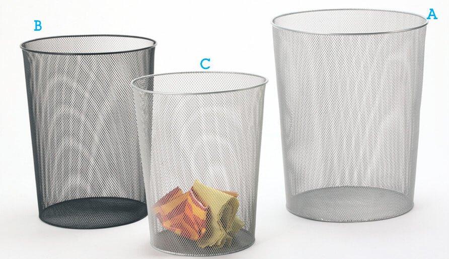 Mesh Metal Wastebasket Office Desk Garbage Trash Can