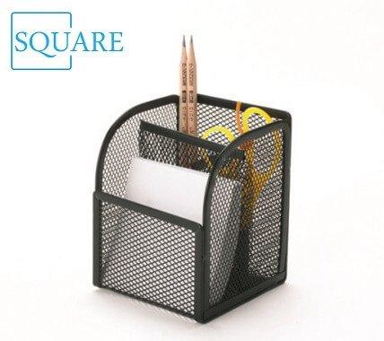 Metal Mesh Pen Pencil Ruler Box Holder Desk Organizer Storage