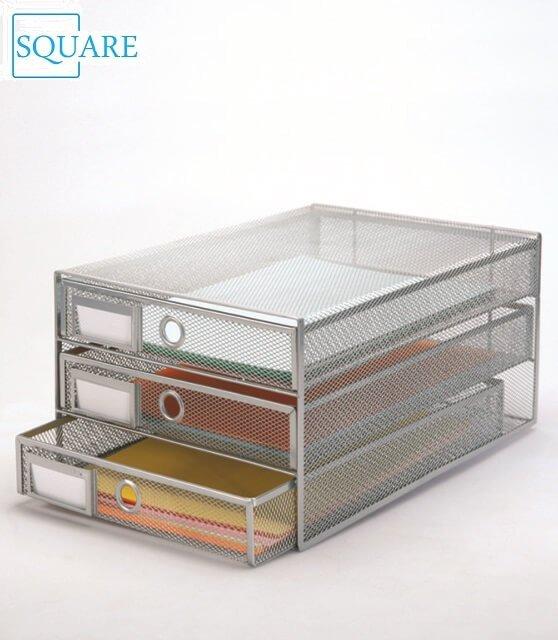 Metal Mesh 3 drawers Desk Tidy Letter Tray Paper Sorter