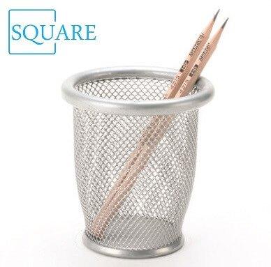 Round metal mesh pencil holder
