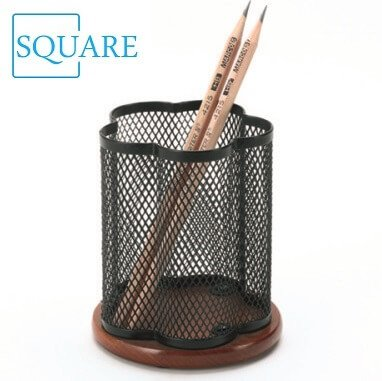 Wooden Color Metal Mesh Special Shaped Pen Pencil Holder Container