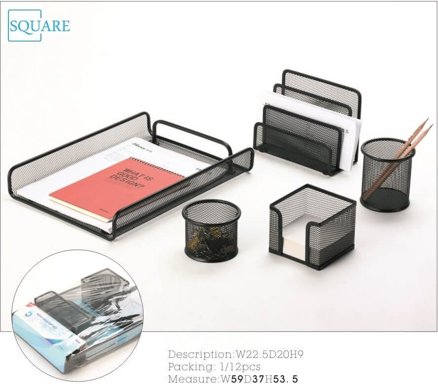 5 Piece Metal Mesh Desk Accessories