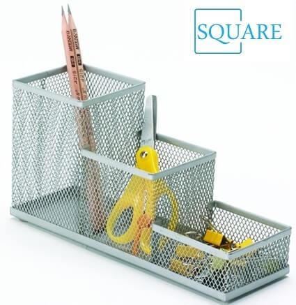 Cube Metal Mesh Pen Pencil Ruler Holder Desk Organizer Storage