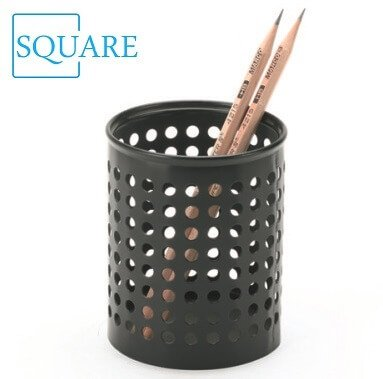 Circle Punched Metal Pencil Cup