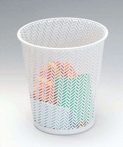 White Punched Metal Wastebin Trash Can Wastebasket