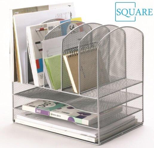 Metal Mesh Desktop File Organizer File Sorter Desk File Tray Organizer