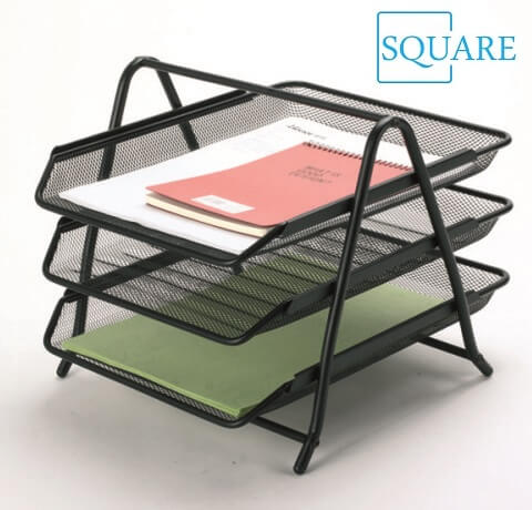Wire Mesh 3 Tier File Letter Document Tray