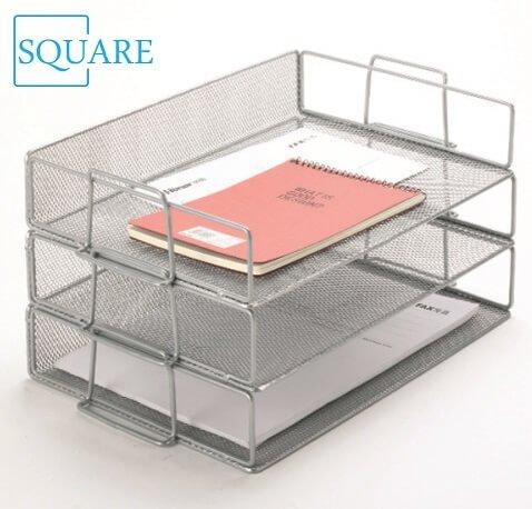 Mesh Stackable Letter Paper Tray Desktop Organizer