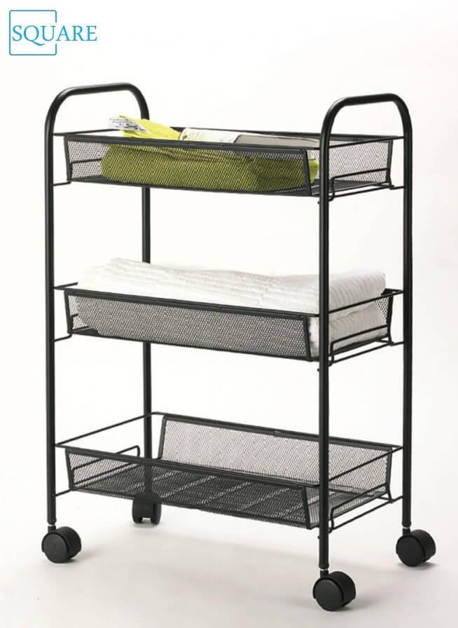Metal mesh 3 shelf kitchen bathroom trolley carts