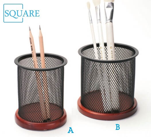 Mesh Metal Pencil Cup Wooden Base