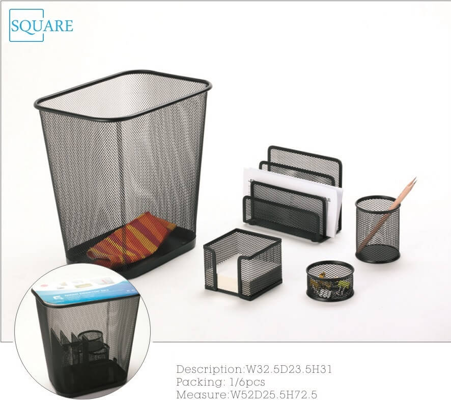 5PC Office Stationery Set Black Metal Wire Mesh Wastebasket