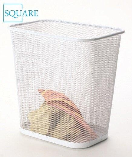 Home Steel Mesh Rectangular Open Top Waste Basket Bin Trash Can