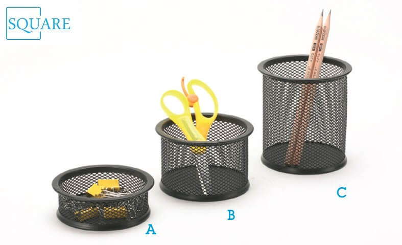 Paper Clip Pen Ruler Pencil Holder Cup Mesh Organizer Container