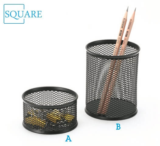 Mesh Wire Steel Pencil Cup Holder Paper Clip Holder