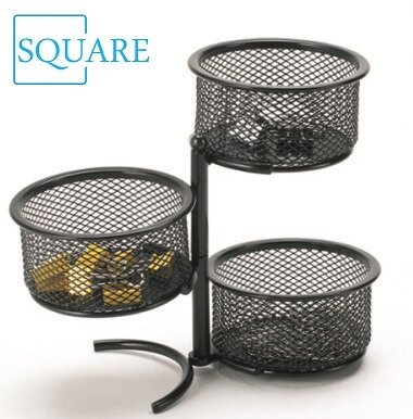 3 Tier Wire Mesh Swivel Tower Paper Clip Holder