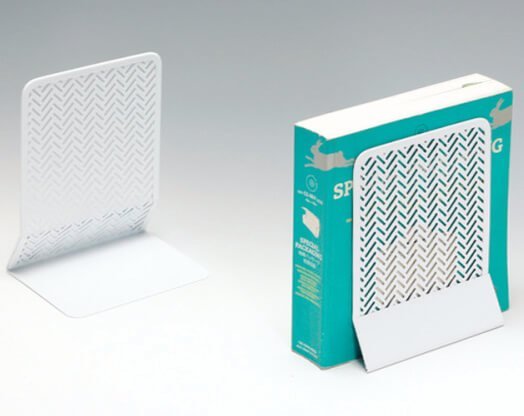 Punched Metal White Bookends