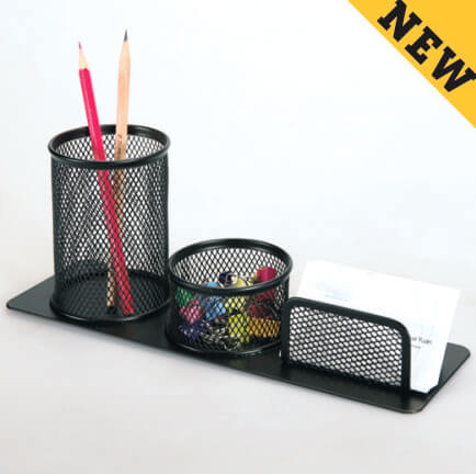 Metal Mesh Style Pen Pencil Ruler Holder Desk Organizer Storage