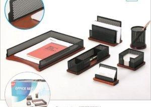 5 Piece Mesh Wood Office Desk Set SQ2211
