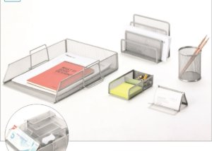 Office Supply Mesh Desk Accessory Set 5 Piece Organizer SQ2215