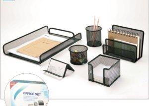 6 Piece Metal Mesh Office Desktop Supplies Organizer SQ3580A