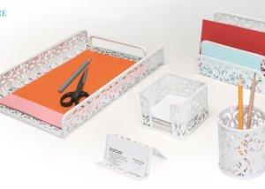 5PC White Metal Mesh Desk Accessories Organizer SQ3580F