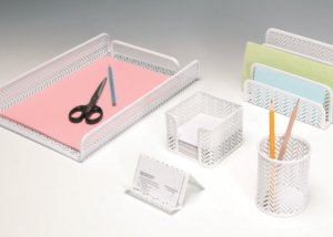 Metal Mesh Desktop Organizer Set Office Stationery 5pcs set SQ3580X