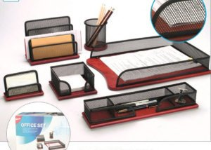 6PC Office Stationery Set Metal Mesh Wooden base Document Tray SQ63513